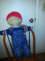 Farm Boy doll buddy in Osk Kosh Overalls